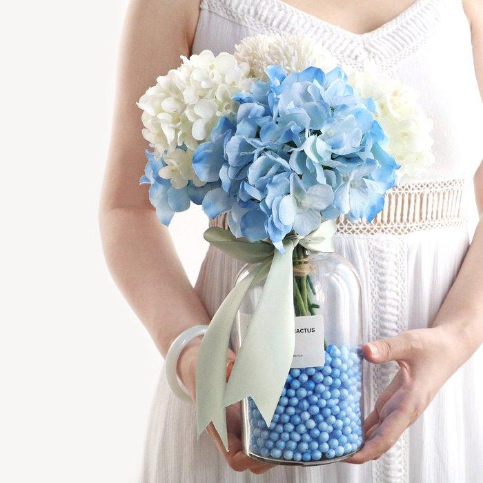 假花瓶 假花 仿真花 花器 花盆 玻璃 年花藍色花瓶玻璃北歐創意擺件仿真繡球絹布塑料假花客廳餐桌花藝清新