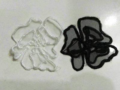 不規則雙層立體歐根紗繡花蕾絲貼片 花片 布貼 DIY