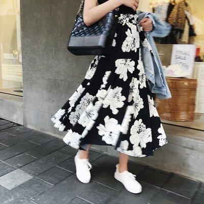 2018春夏新款高腰中長裙子仙女荷葉邊印花不規則百褶半身裙女飄逸