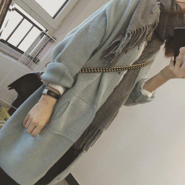 正韓 韓國直送 超美 淡淡湖水藍 含兔絨 長版 罩衫 外套 長版外套 大衣 長版大衣