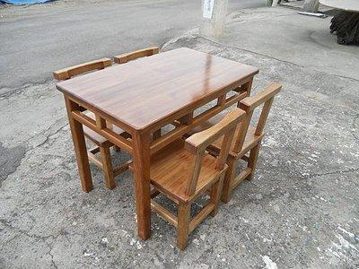 A046 {崙頂傳統原木家具行}~杉木實木格子桌配杉靠背椅整組 接受訂做.訂色