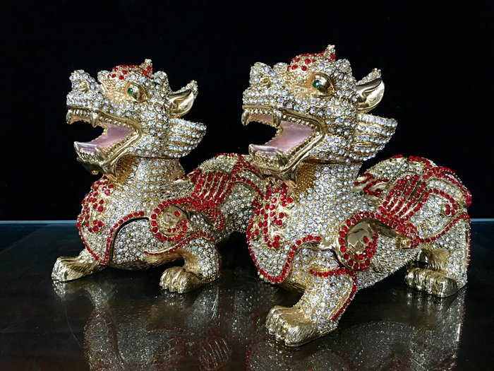 *藏雅軒*鍍金鍅瑯彩晶鑽珠寶盒系列-滿鑽招財貔貅-賺最多-新春特價