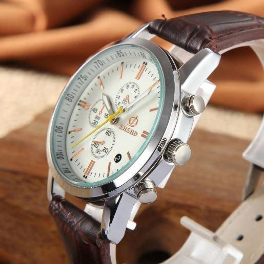 【省錢博士】時尚休閒羅馬字面側假三眼PU皮質手錶 129元