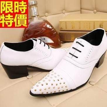 尖頭鞋 真皮皮鞋-鉚釘繫帶純色英倫增高男鞋子65ai13[獨家進口][米蘭精品]