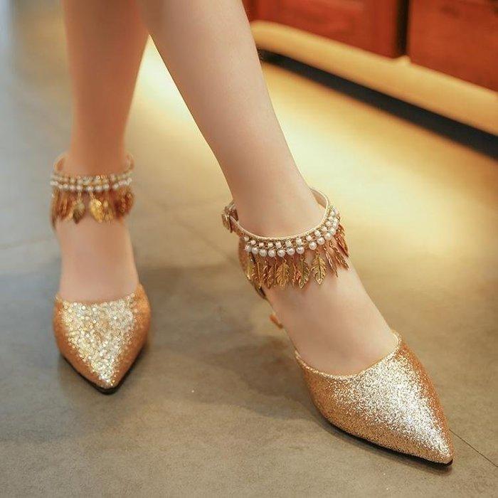 YEAHSHOP 英倫涼鞋女夏一字式扣帶中跟輕熟氣質優雅細跟顯瘦公主百搭高跟鞋Y185
