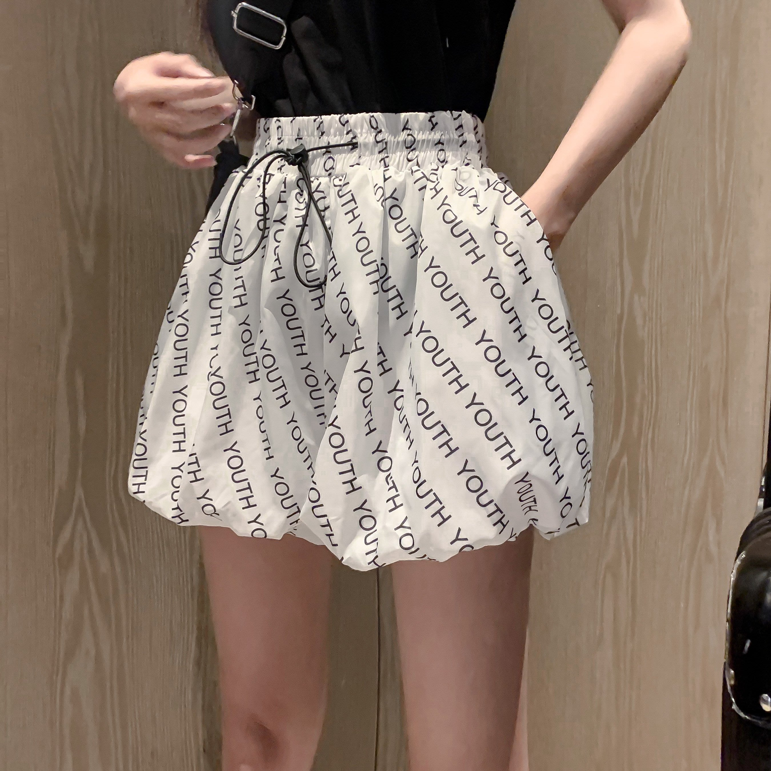短褲 牛仔褲 短褲女2020新款夏季字母印花高腰薄款褲子寬松直筒顯瘦蓬蓬休閑褲