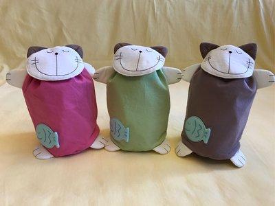 日本卡拉貓~微笑貓咪防水束口收納袋 悶燒杯收納