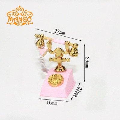 雜貨小鋪 1:12娃娃屋dollhouse迷你客廳模型場景配件 歐式電話座機金屬多色