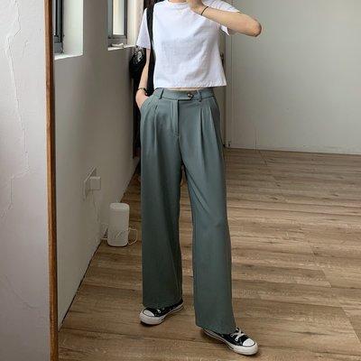 【UBY】超美灰綠色!版型很好的直筒西裝褲◄No04215