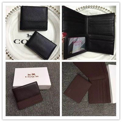 留學生like購 COACH 74634 黑色 男士短夾 短款兩折 小卡夾 附購買憑證