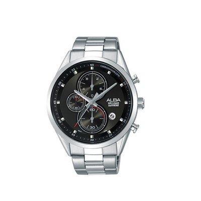 可議價「1958鐘錶城」ALBA雅柏 SPECIAL 男 三眼計時太陽能 石英腕錶(AM3463X1) 43mm