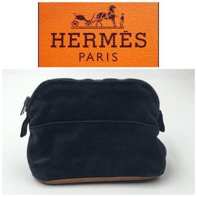 【皮老闆二店】二手真品 Hermes 錢包 收納包 愛馬仕 化妝 零錢包  使用痕跡 法國製 藍820