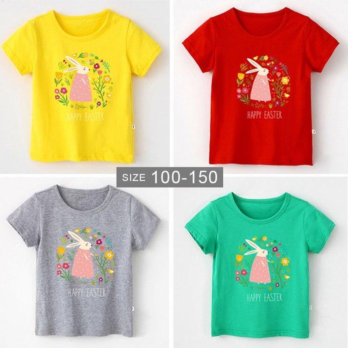 【大童】女童短袖T恤。ROUROU童裝。夏女童中大童100%棉小花兔短袖T恤 上衣 0221-410