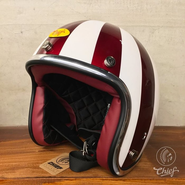 Chief Helmet 3/4 復古帽 旭日旗 (紅白配色)通過台灣CNS美國DOT合格認
