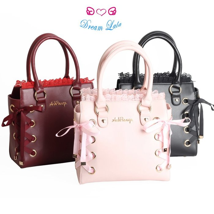 夢幻拉拉♥【預購】Ank rouge同款日系lolita可愛少女軟妹蕾絲花邊蝴蝶結緞帶手提包側背包C00007