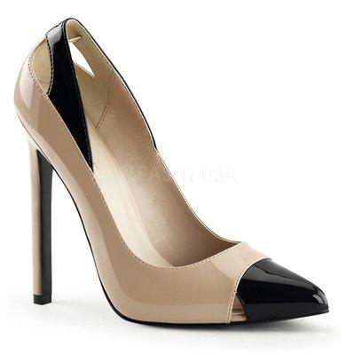 Shoes InStyle《五吋》美國品牌  PLEASER 原廠正品漆皮尖頭高跟包鞋 有大尺碼『裸駝黑色』