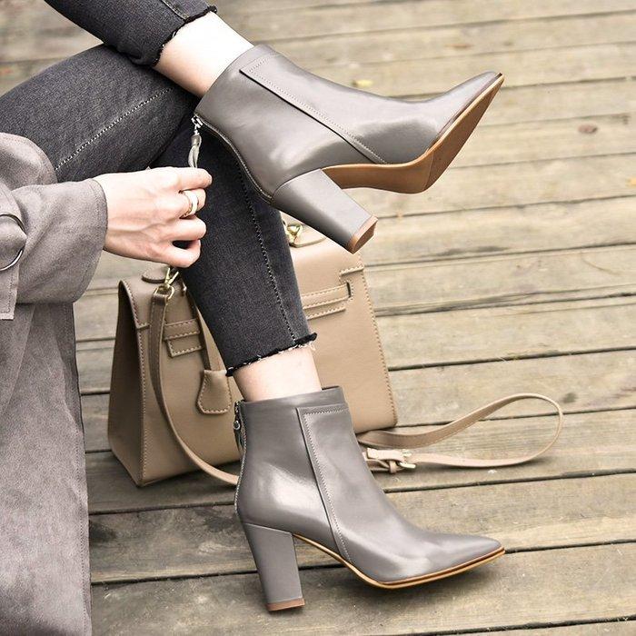 Fashion*尖頭灰色高跟短靴 後拉鏈馬丁靴 真皮粗跟及踝靴『黑色』34-39碼