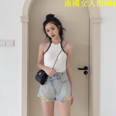 南國女人街WM時尚套裝女夏季2019新款破洞牛仔短褲+背露性感背心時尚兩件套