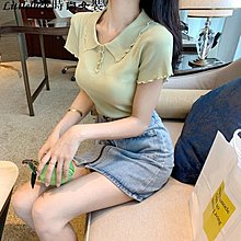 Littleluck~女裝韓國chic抹茶綠百搭修身顯瘦娃娃領紐扣針織T恤短袖女2019新款夏
