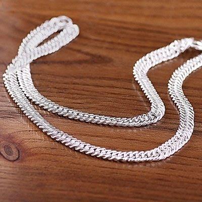 925純銀項鍊霸氣男款粗項鍊時尚潮男日韓版馬鞭鍊鎖骨白銀送男友 一件免運