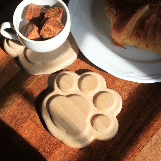 Pet's Talk~  Wotime窩時光【Cup-Pal Coaster】可愛貓掌山毛櫸實木造型杯墊