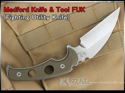 《藏刀閣》MEDFORD-(FUK) D2鋼實用戰鬥直刀(綠柄/綠鞘)
