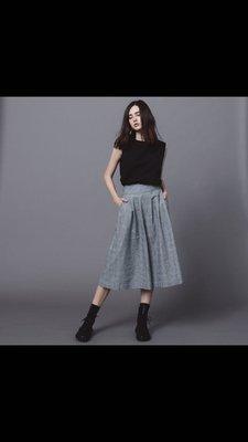 raw-ecoproject 格紋短板打褶寬褲 褲裙 棉麻材質 pinkoi 熱銷設計師品牌