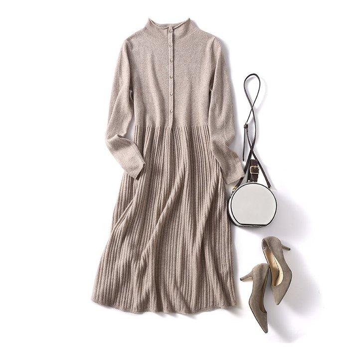 高端純羊毛羊絨裙中長款連衣裙