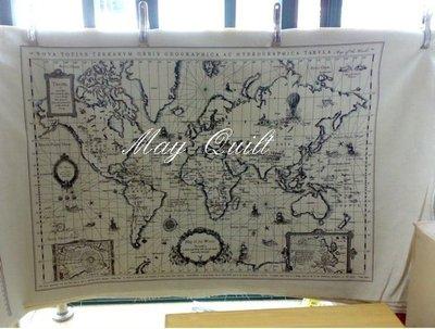 May Quilt 韓國同步 World 世界地圖定位圖案棉麻布(米白色)