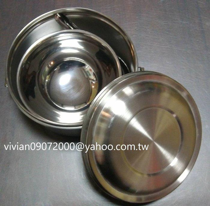 316材質台灣製14公分雙耳扣圓型便當盒內附304材質小碗與小台匙