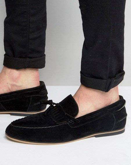 ◎美國代買◎ASOS流蘇片與綁帶鞋面設計英倫雅痞風麂皮流蘇帆船鞋樂福鞋~歐美街風~大尺碼