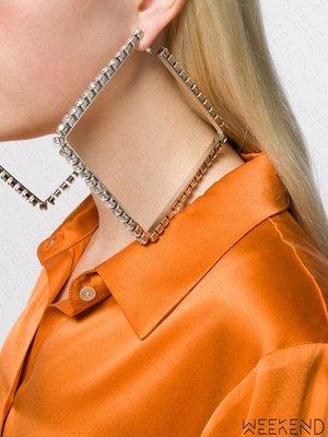 【WEEKEND】 AREA 新款大水晶 大尺寸 方形 一對 耳環 銀色 19秋冬