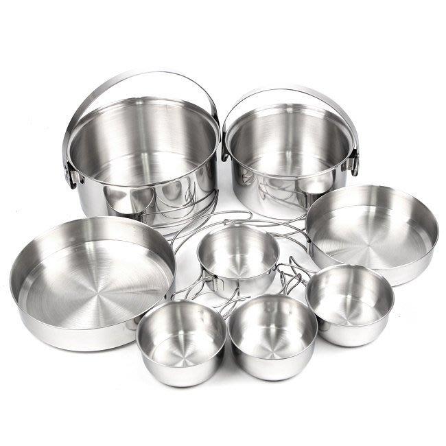 [金樹戶外]犀牛 RHINO 4-5人不銹鋼輕便套鍋/304不鏽鋼/摺疊式握把/煎盤/調理鍋/附收納袋 KS-45