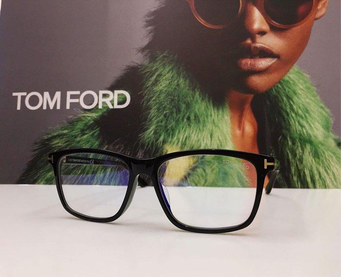 TOM FORD 復古黑色大方框光學眼鏡搭配無度數濾藍光鏡片 經典T字時尚 TF5479F-B 001 鼻墊加高亞洲版 義大利製 公司貨 5479