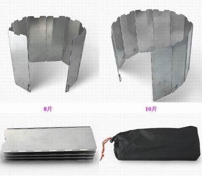 【帶插銷擋風板-8片/10片可選-片寬8*高24cm-2套/組】鋁合金 超輕折疊式帶布袋配合爐頭使用-76007