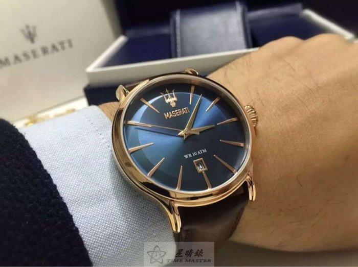 請支持正貨,瑪莎拉蒂手錶MASERATI手錶EPOCA款,編號:MA00052,寶藍色錶面咖啡色皮革錶帶款