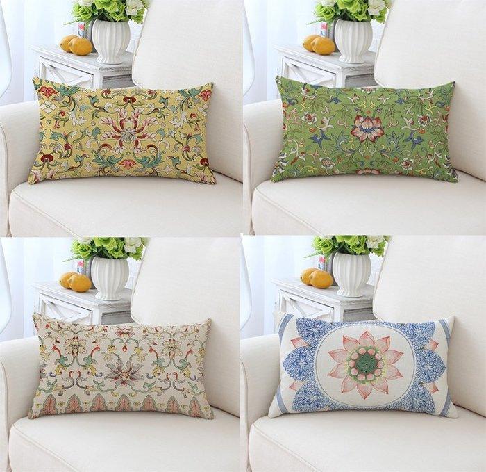 家居布藝中式古典印花 古風棉麻抱枕靠墊辦公室腰枕午睡靠墊 沙發靠墊抱枕