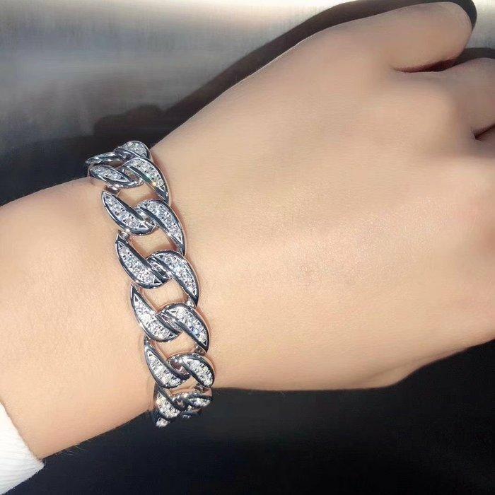 豪華手鍊4折鑲滿鑽石手鍊飾品配件男女適用珠寶手環925純銀手鏈鉑金真鑽質感高檔不退色飾品高碳仿真鑽石鉑金真鑽質感莫桑鑽寶