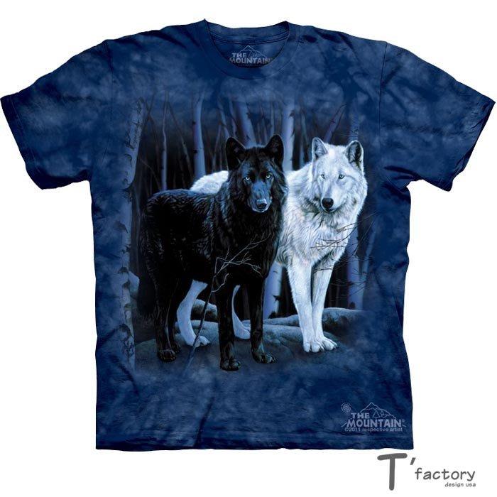 【線上體育】The Mountain 短袖T恤 黑白狼 L號