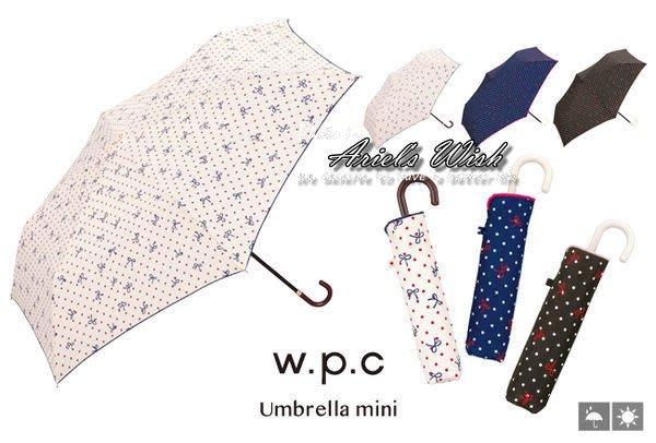 Ariel's Wish-日本WPC晴雨兩用折傘雨傘陽傘蝴蝶結點點雙色滾傘邊U型掛勾把手防曬遮陽抗UV短傘-黑色最後一隻