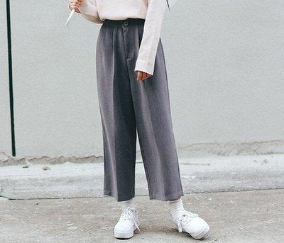 SeyeS  時尚復古基本款八分寬褲