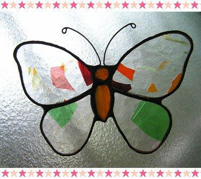 豬豬姨~Auntie Piggy~手工~蝴蝶~鑲嵌玻璃掛飾~Mei-Yu's Stained Glass Studio~