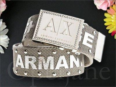 真品 A|X Armani Exchange AX 阿曼尼鉚釘裝飾個性腰帶童軍休閒皮帶M號 S L號缺貨 男女適用
