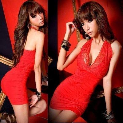 ~☆風尚主人☆ ~【YY941】新款性感夜店紅色深V蕾絲掛脖包臀修身連衣裙/連衣裙
