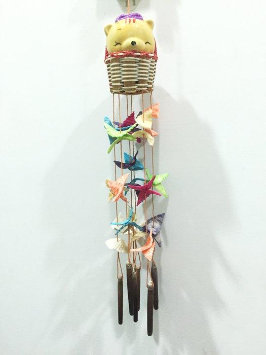 彩色貝殼風鈴,送紫色蝴蝶結小熊,禮品,全新,未使用過