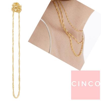 CINCO 葡萄牙精品 Zoey choker medium 金色蕾絲造型頸鍊 24K金色素鍊 45CM