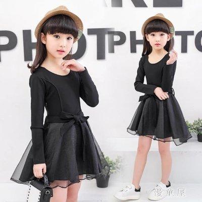 女童黑色連衣裙兒童女孩公主裙韓版長袖蕾絲紗裙中大童裙子 QG7646
