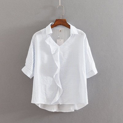 韓國連線-大碼女裝2019夏裝新款2色荷葉邊短袖條紋襯衫882580    白色
