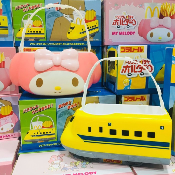 現貨 麥當勞 限定 新幹線 美樂蒂 造型 食物 野餐籃 食物架 車內 掛置 提籃[H&P栗子小舖]