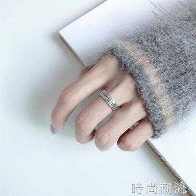 ZIHOPE 戒指冷淡風S925純銀女復古羅馬數字字母雙層開口指環銀飾ZI812